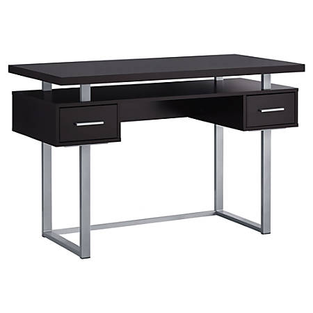 Monarch Specialties Computer Desk With Drawers CappuccinoSilver .