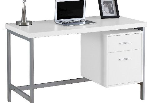 Computer Desk With Drawers - Silver Metal & White - EveryRoom : Targ