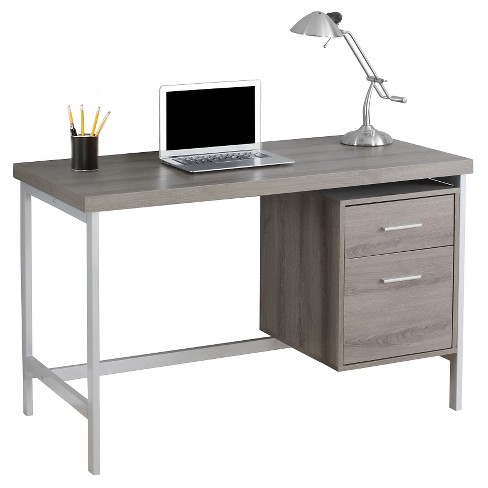 Computer Desk With Drawers - Silver Metal&Dark Taupe - EveryRoom .