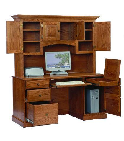 Heirwood Computer Desk with Hutch Top from DutchCrafters Ami