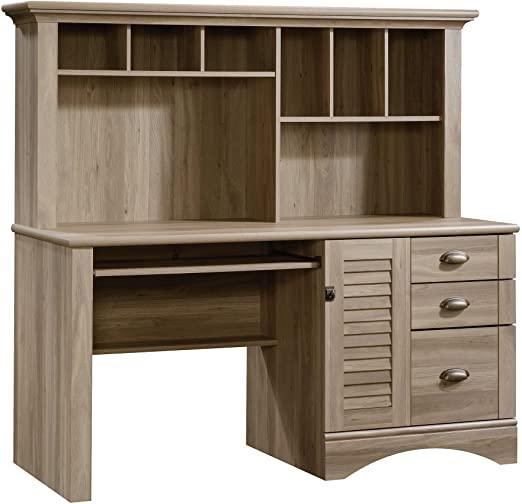 Amazon.com: Sauder Harbor View Computer Desk with Hutch, Salt Oak .