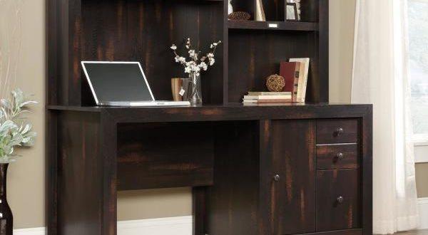 SAUDER Dakota Pass Char Pine Computer Desk with Hutch 422597 - The .