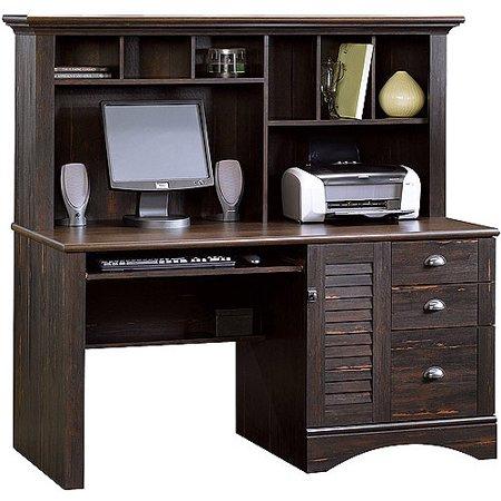 Sauder Harbor View Computer Desk with Hutch, Antiqued Paint .