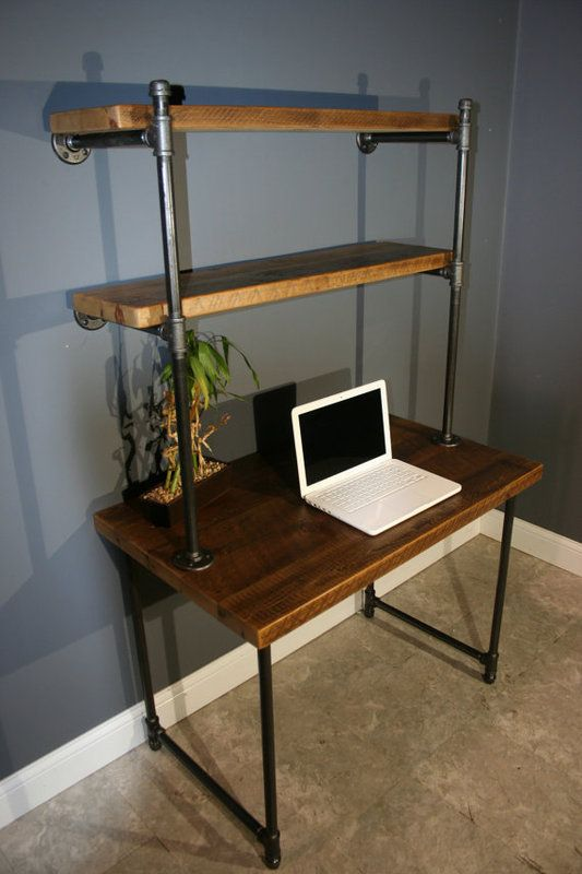 Computer Desk w/Storage Shelves - reclaimed wood in Lower .