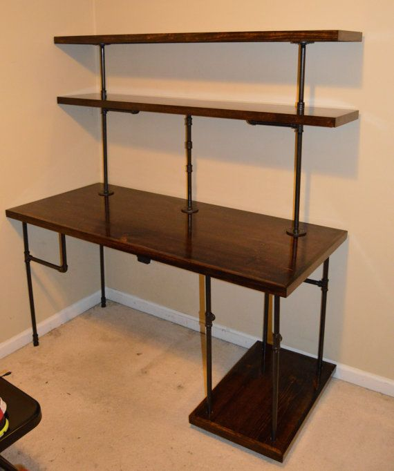 Chris' Industrial Computer Desk : Shelves by RAllisonWoodworks .
