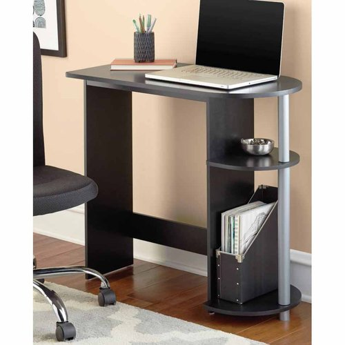 Mainstays Black Computer Desk with Built-in Shelves - Walmart.com .