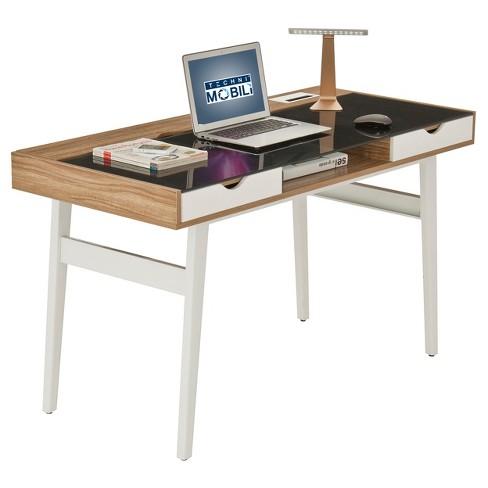 Compact Computer Desk With Multiple Storage Walnut - Techni Mobili .