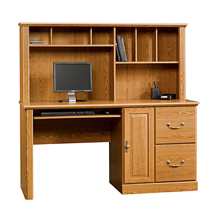 Sauder Orchard Hills Computer Desk With Hutch 58 34 Carolina Oak .