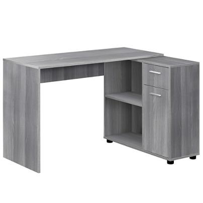 Monarch Specialties Corner Computer Desk With Storage Cabinet Gray .