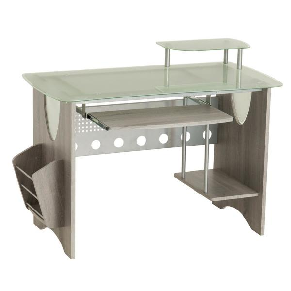 Techni Mobili Gray Frosted Glass Top Computer Desk with Storage .
