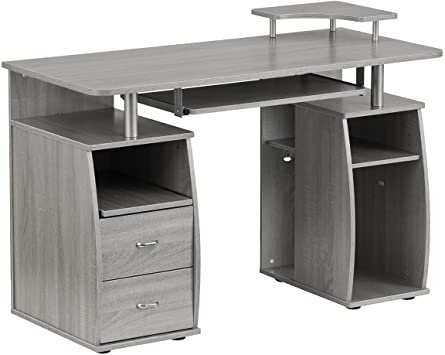 Amazon.com: Techni Mobili Complete Computer Workstation Desk Grey .