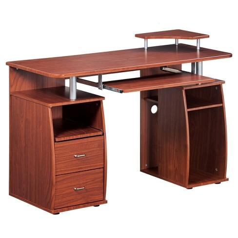 Complete Computer Workstation Desk With Storage Mahogany - Techni .