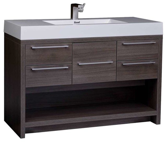 "Lodi 47"" Modern Bathroom Vanity Set Gray Oak Finish Optional ."