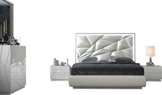 Kiu 5-Piece Modern Bedroom Set, White, King - Contemporary .