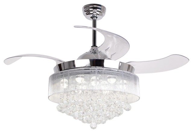 Modern LED Crystal Ceiling Fans with Foldable Blades .