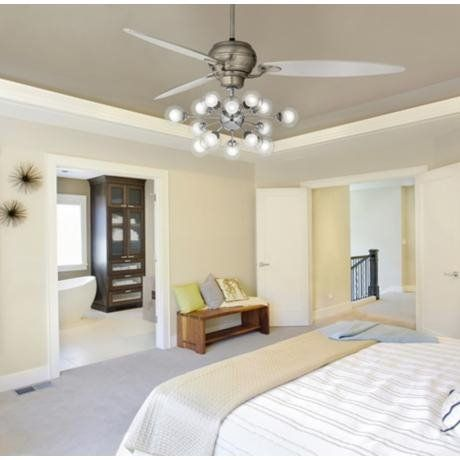 Contemporary Bedroom with Mid Century Inspired LED Ceiling Fan .