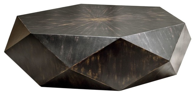 Faceted Large Round Wood Coffee Table, Modern Geometric Block .