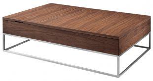 Modrest Telson Modern Walnut Coffee Table With Storage .