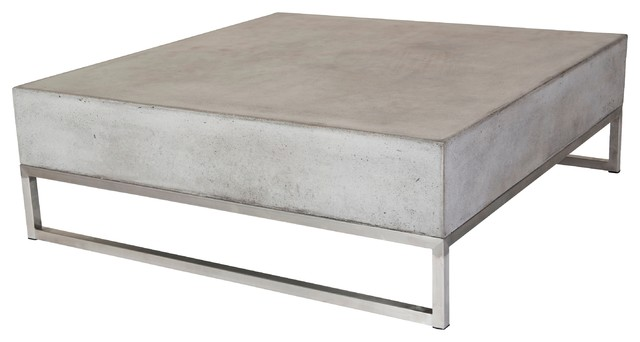 Modrest Drake Modern Square Concrete Coffee Table - Contemporary .