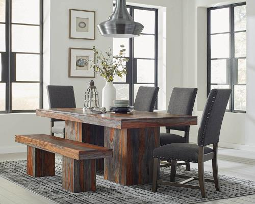 Rustic Grey Sheesham Contemporary Dining Table Matching Parson .