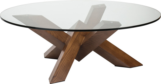Costa Round Glass Coffee Table, Modern Contemporary Wooden Coffee .