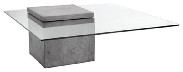 Modern Glass Coffee Table With Polished Concrete - Industrial .