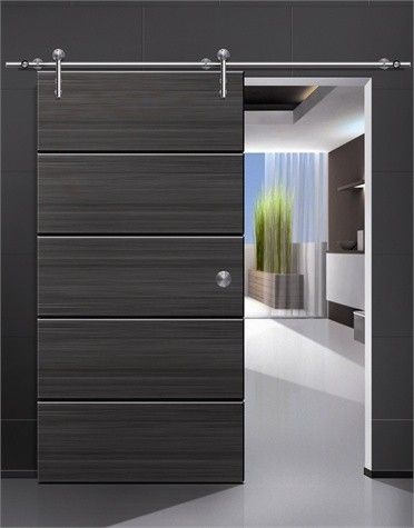 Modern barn door hardware for wood door - modern - interior doors .