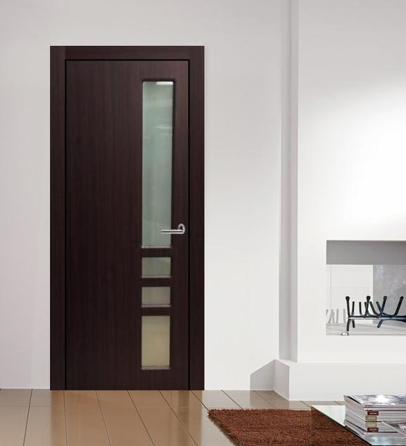 "Verona"" Contemporary Interior Door Mahogany Finish w/Frosted Gla"