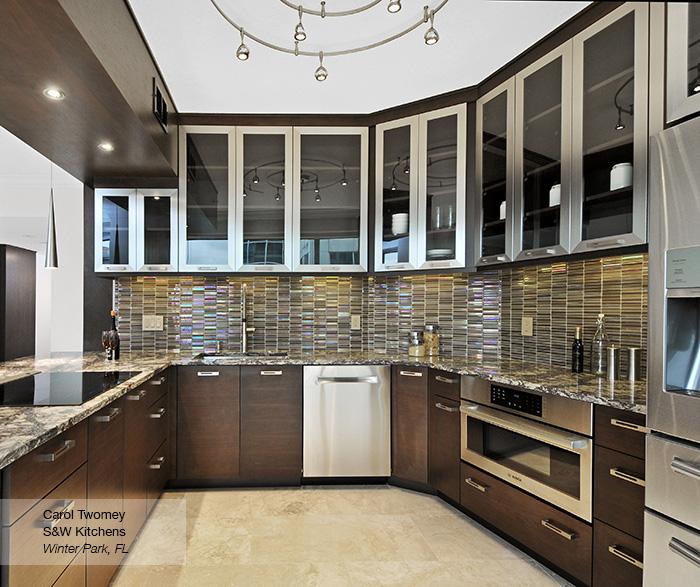 Contemporary Walnut Kitchen Cabinets - MasterBra