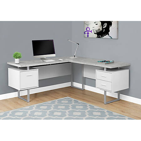 Monarch Specialties Corner Desk GrayWhite - Office Dep