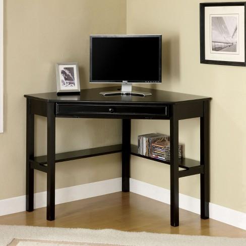 Erona Modern Corner Computer Desk Black - MiBasics : Targ
