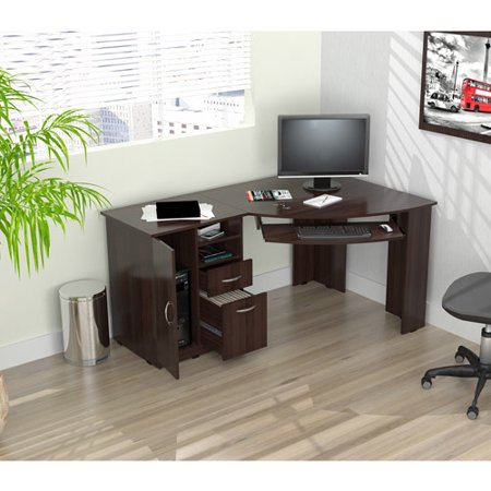 Inval Corner Computer Desk, Espresso-Wengue Finish - Walmart.com .