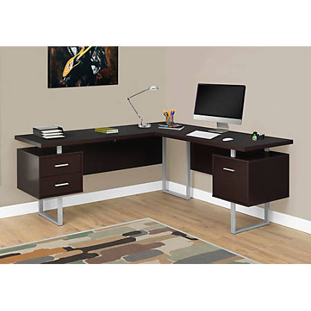 Monarch Specialties L Shaped Corner Computer Desk With 2 Drawers .