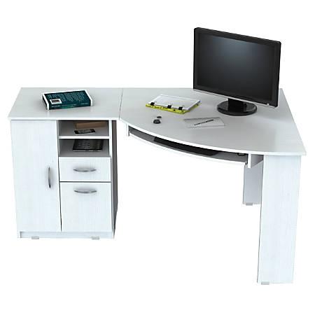 Inval Corner Computer Desk Washed Oak - Office Dep