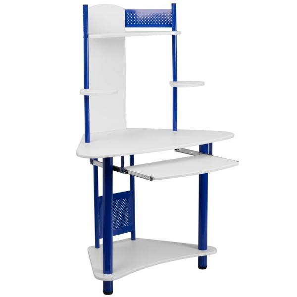 Flash Furniture Blue and White Corner Computer Desk with Hutch .