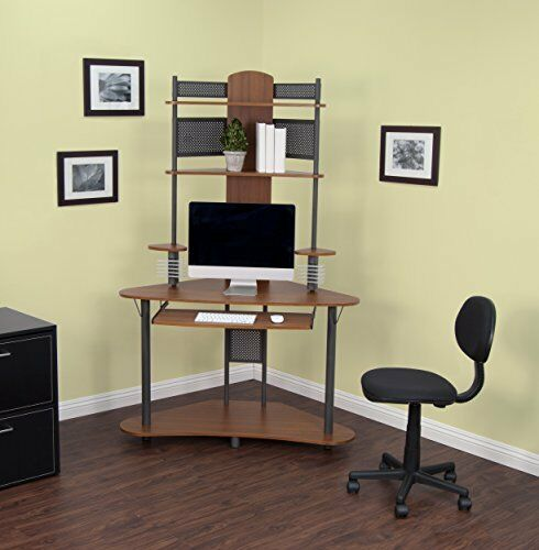 Small Corner Computer Desk Tower Hutch Wood Storage Shelves .