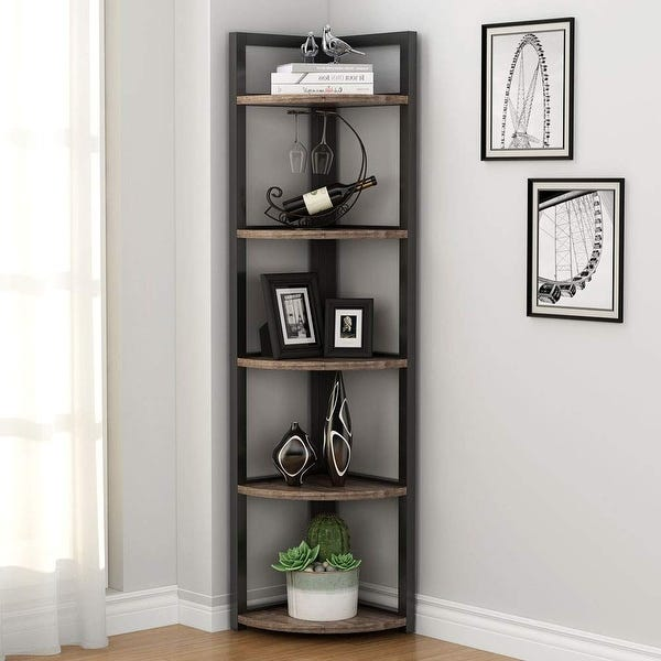 Shop 5-tier Corner Shelf, Corner Storage Rack Plant Stand Small .