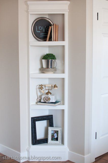 DIY built in corner shelving unit.... Bedroom hallway | Home diy .