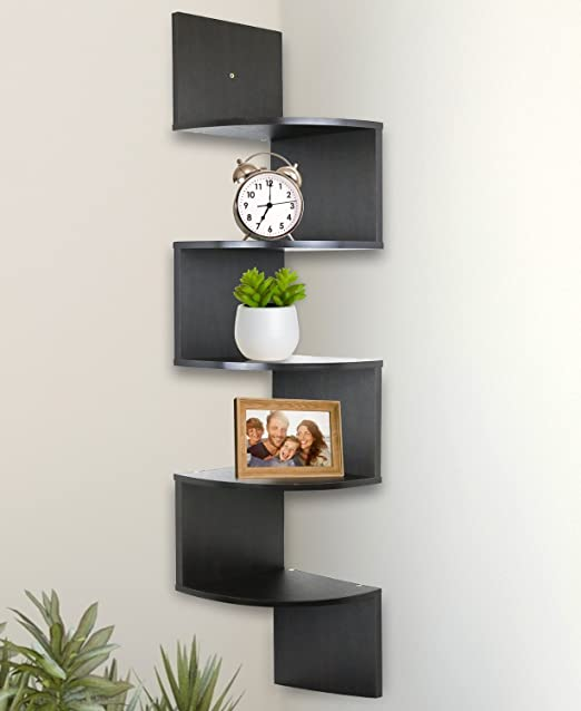 Amazon.com: Greenco 5 Tier Wall Mount Corner Shelves Espresso .