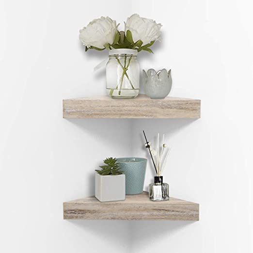 Amazon.com: AHDECOR Rustic Wood Corner Wall Shelves, Wall Mounted .
