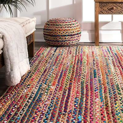 Braided Floor Rug Boho Jute & Cotton Rug Rectangle Floor Mat Rugs .