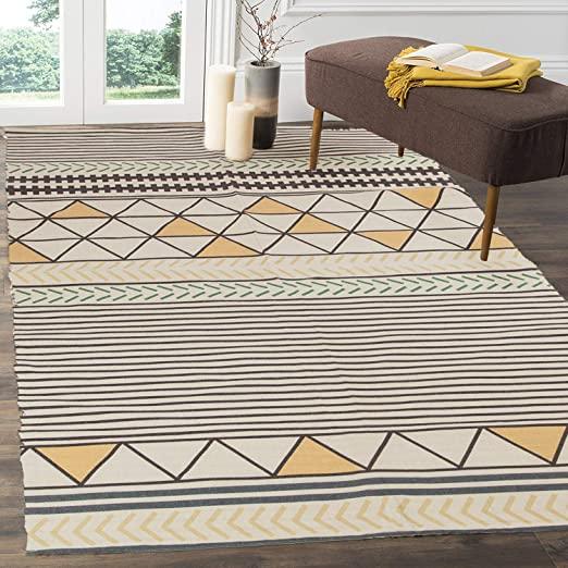 Amazon.com: HEBE Cotton Area Rugs 4'x6' Modern Handmade Flat Woven .