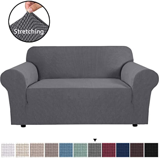 Amazon.com: H.VERSAILTEX Gray Loveseat Cover 1-Piece Spandex Sofa .