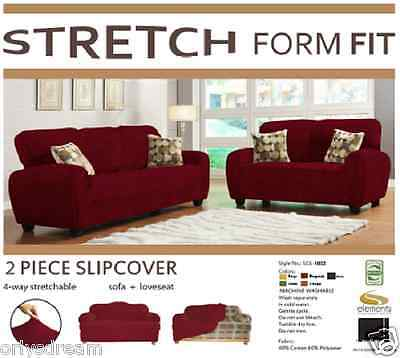 STRETCH FORM FIT - 2 Pc Slipcovers Set , Sofa + Loveseat Covers .