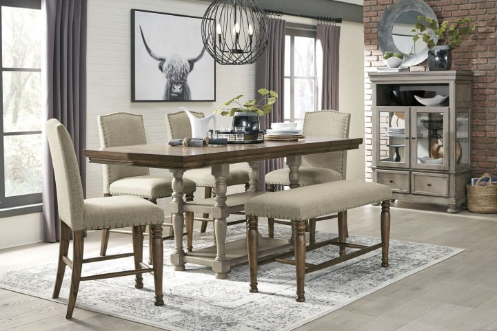 LETTNER GRAY AND BROWN COUNTER HEIGHT DINING SET SIGNATURE DESIGN .