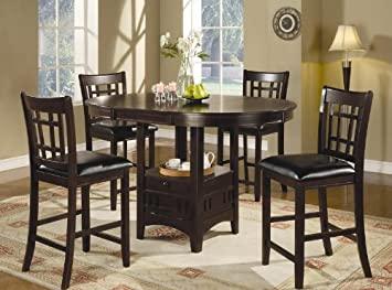 Amazon.com: 5pc Counter Height Dining Table and Stools Set Dark .