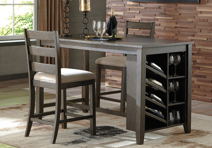 Rokane Brown Rectangular Counter Height Dining Table w/ Storage .