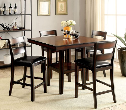 5 PC Furniture of America Norah II Counter Height Dining Table Set .