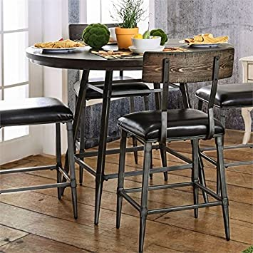 """Amazon.com: BOWERY HILL 45"""" Industrial Round Counter Height Dining ."""