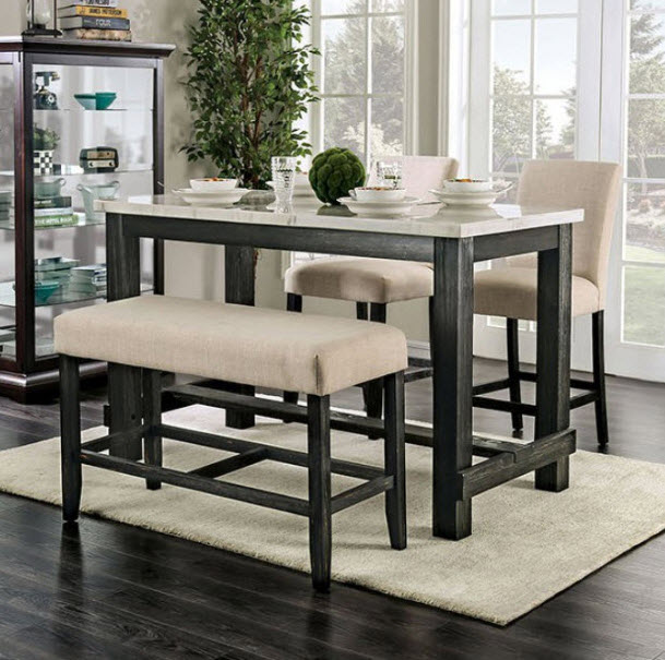 Brule Genuine Marble Top Counter Height Dining Tab
